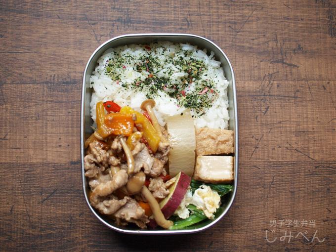 【地味弁】豚肉のポン酢炒め弁当